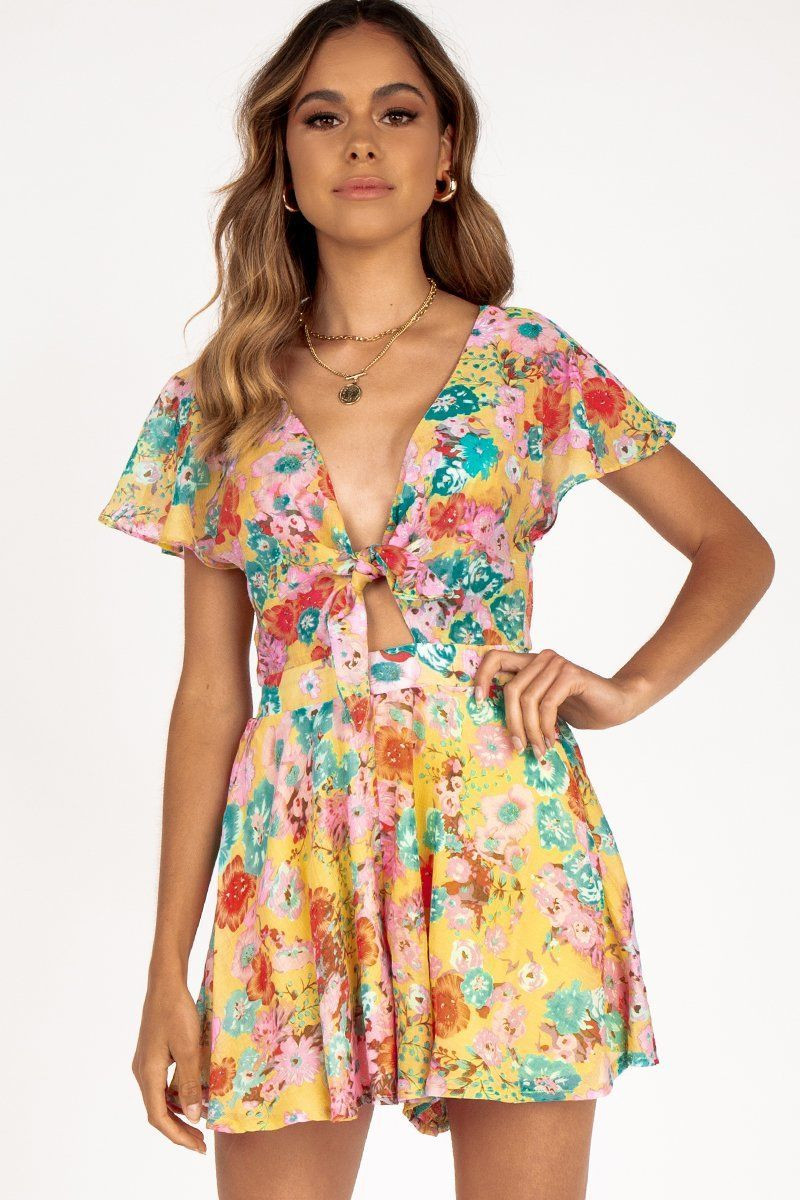 FOUR SEASONS YELLOW FLORAL PLAYSUIT DISSH EXCLUSIVE  $69.99