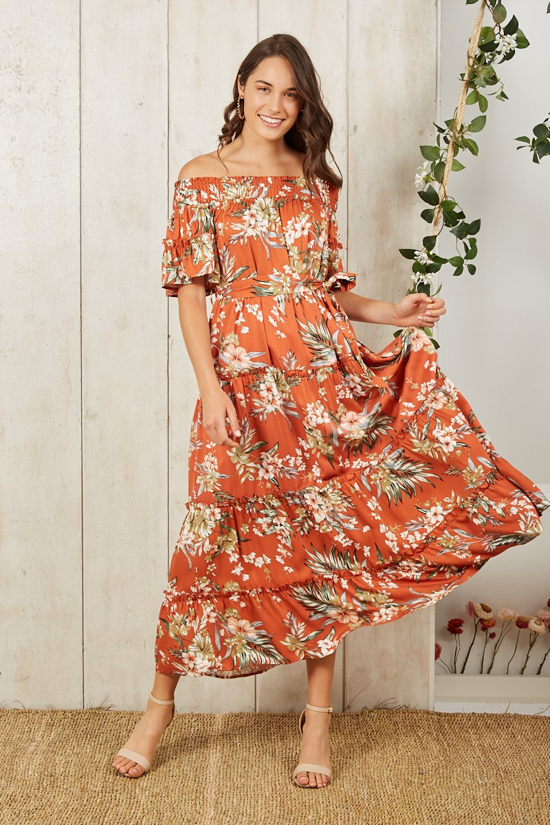 Burnt Sun Dress In Rust With Beige Floral $79.90