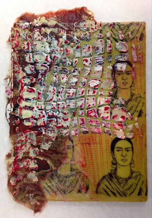 Tres Fridas, encaustic collage, incising, stencils