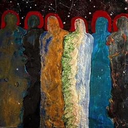 Midnight Jury_2016, encaustic, oil, and enamel on panel_12x12__#encaustic #enamel #oil #abstractfigu