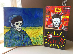 Created a few small Dia de los Muertos inspired paintings ❤️🎨💀