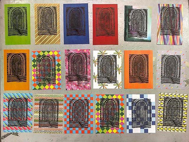 Created a few more Sanctuary prints today experimenting with colorful and patterned papers_._