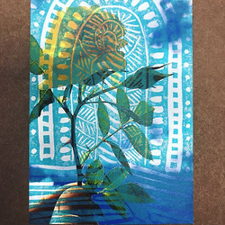 Created a few more Sanctuary relief prints with chine-collé onto photographs and tissue paper