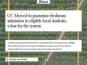 UC Merced Announces Conditional Admission to Local High School Students