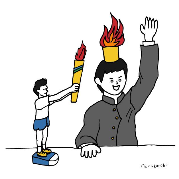 生徒のこころに火をつけるイラスト