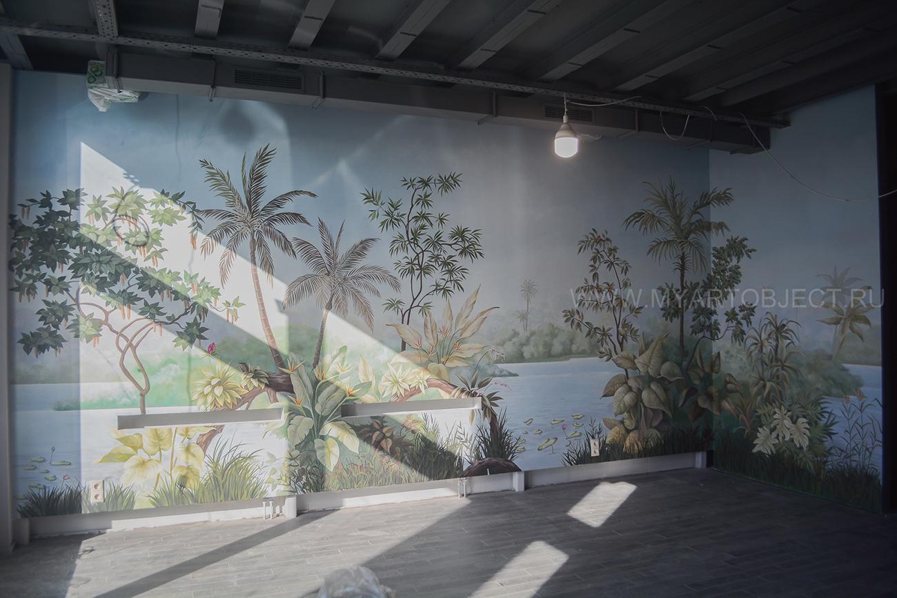роспись стены тропические деревья пальмы