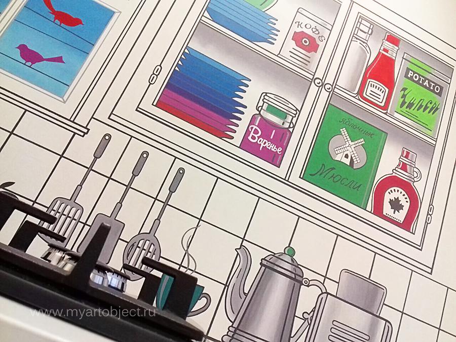 роспись кухни- рисунок мебели на стене