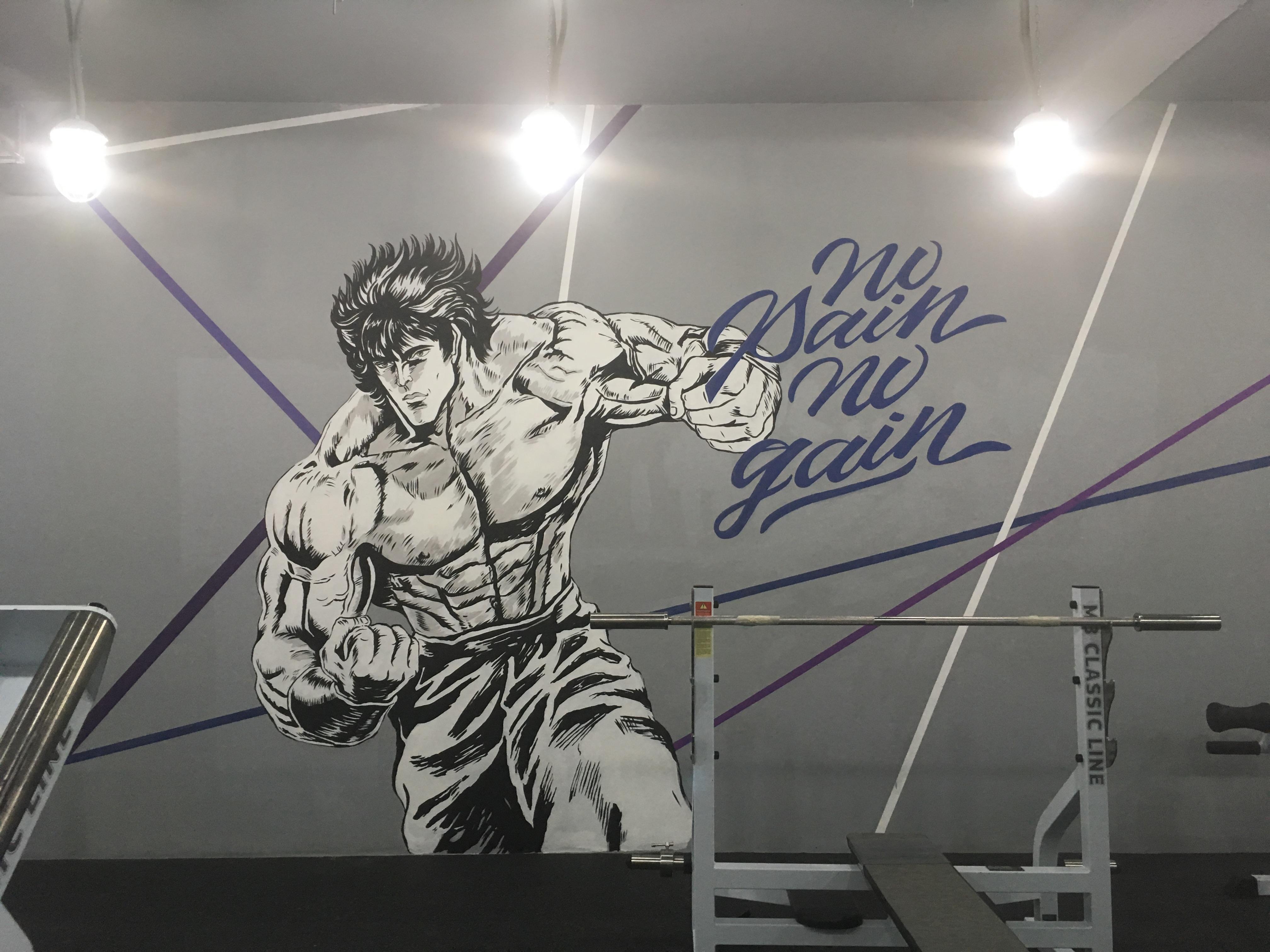 роспись спортзала в стиле аниме - силуэты спортсменов атлетов