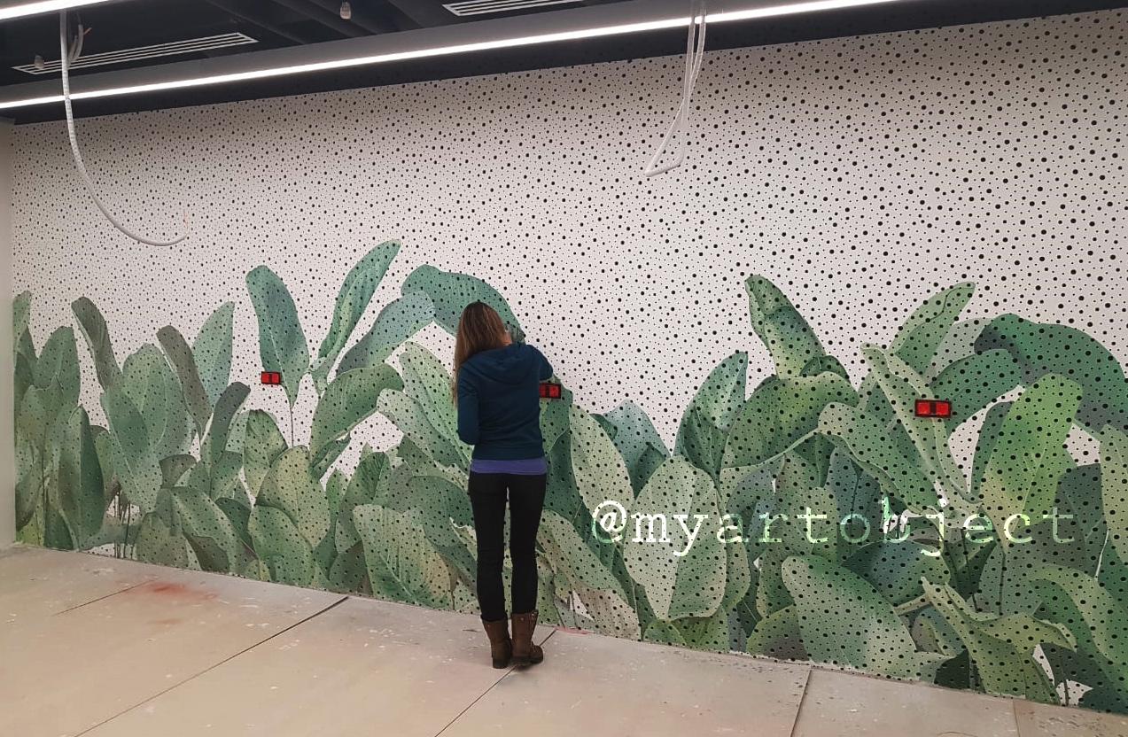 Роспись-стены-тропические-листья-реалист