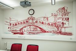 Роспись офиса, итальянский пейзаж, Венеция, пост Риалто