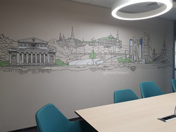 панорама москвы рисунок на стене