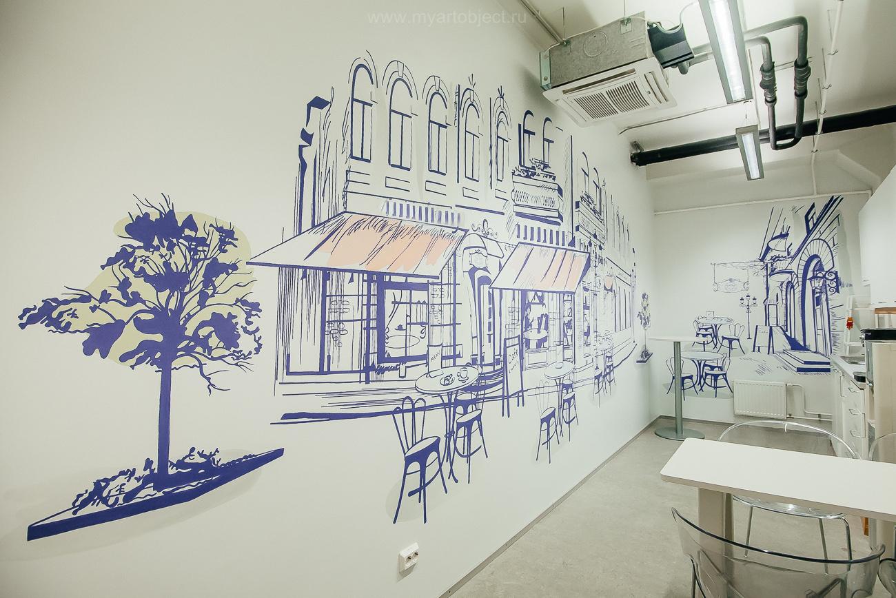 роспись кухни, улица франции, парижское кафе