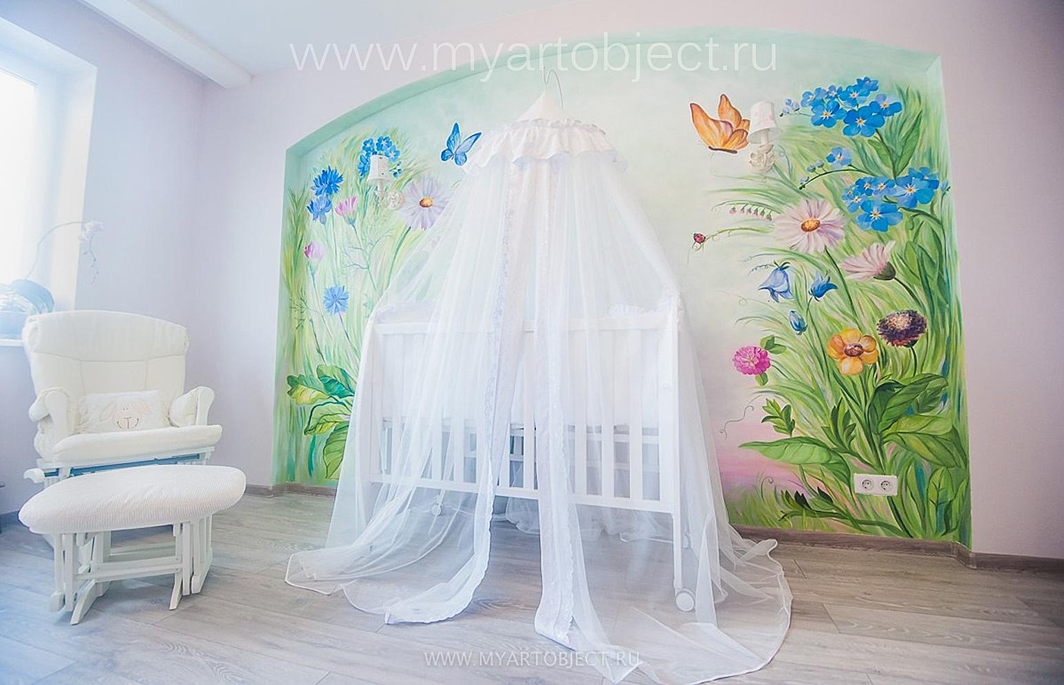 роспись детской комнаты девочки в москве  -дизайн детской комнаты Москва