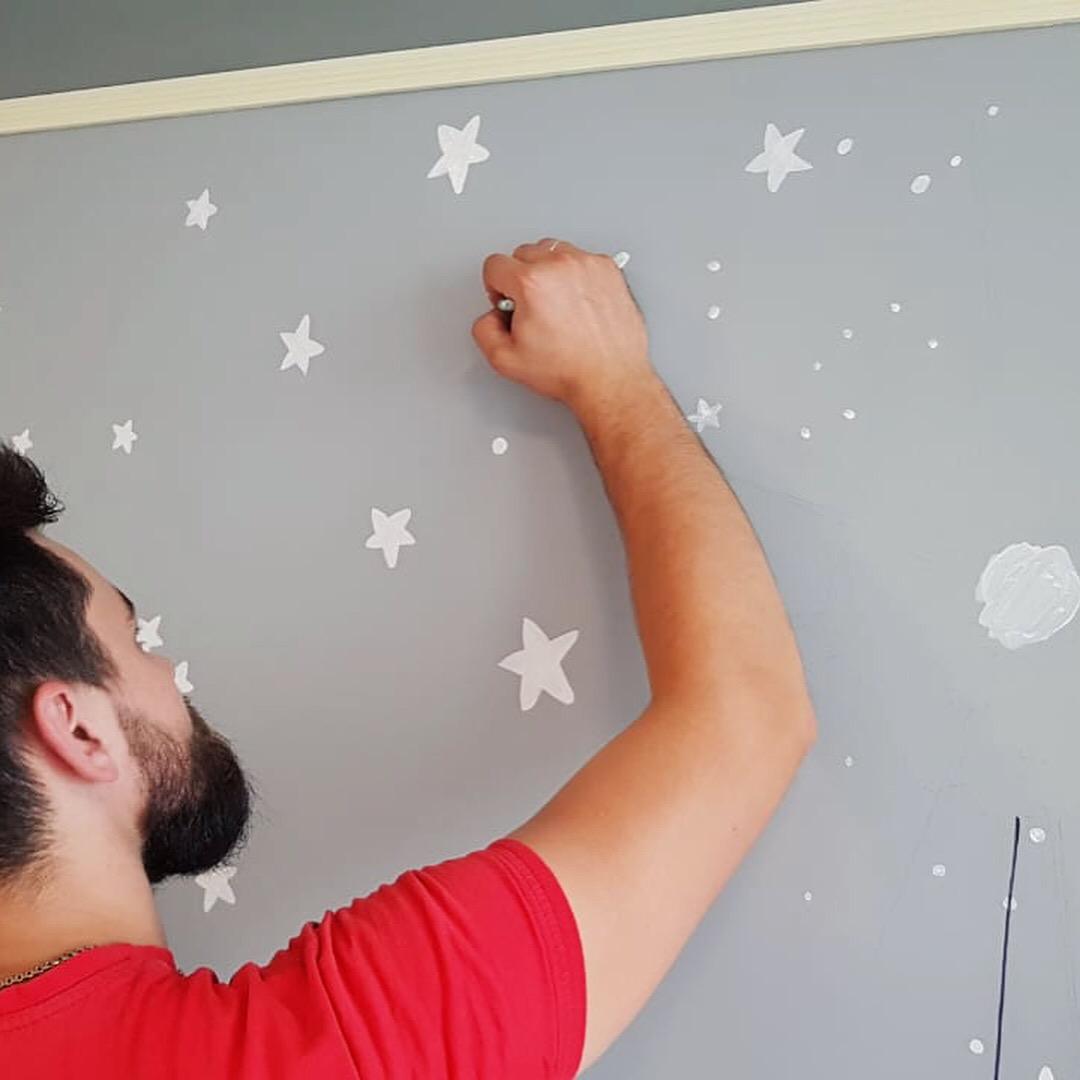 роспись потолка детской звезды