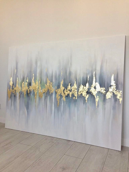 """Абстрактная картина с золотом """"В ритме города"""""""