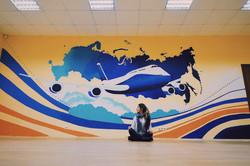 роспись офиса граффити абстракция и самолет