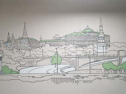 роспись стены панорама скетч иллюстрация