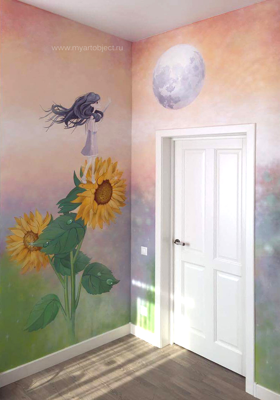 girlsroom wall mural роспись детской