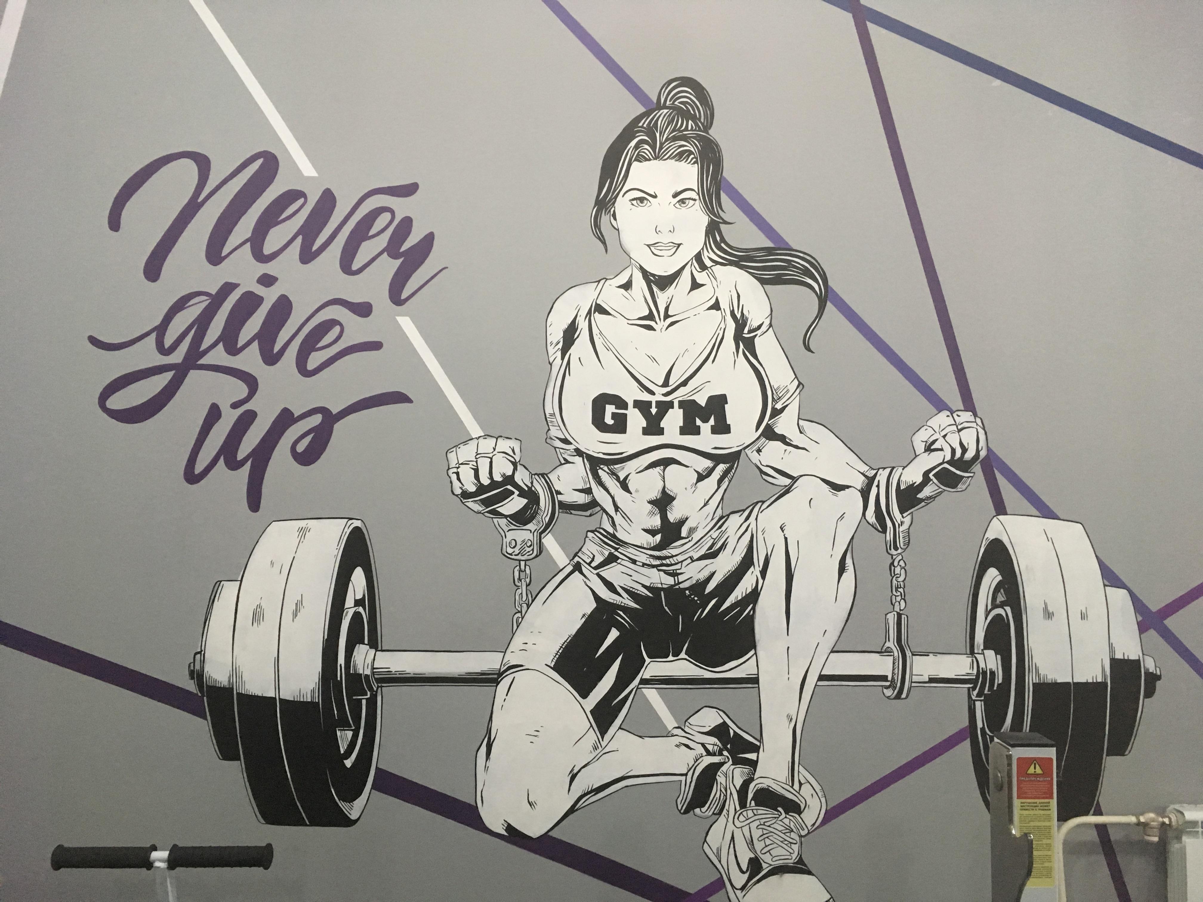 роспись спортзала в стиле аниме -силуэты спортсменов атлетов