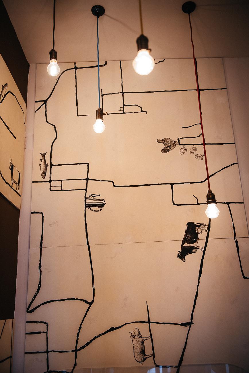 графика роспись кафе в стиле гравюра