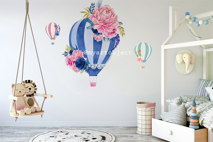 воздушный-шар-синий---рисунок-на-стене-д