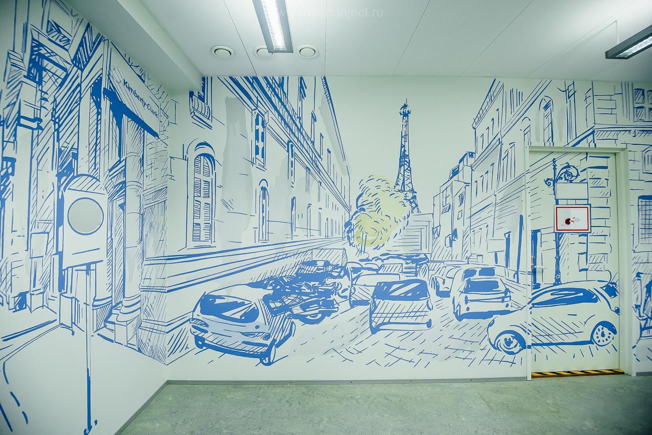 роспись оффиса, граффити улица парижа