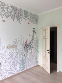 Роспись стены детской животные в тропиках иллюстрация - childroom mural with tropical plants and ani