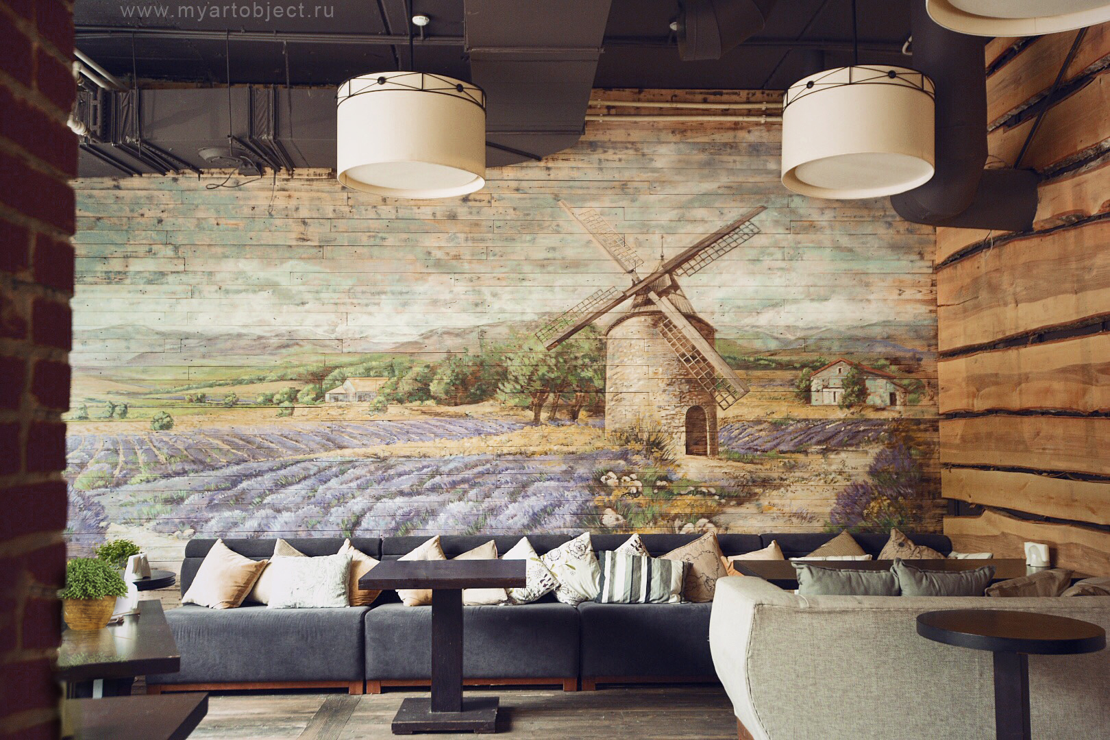 lavender field french provence mural