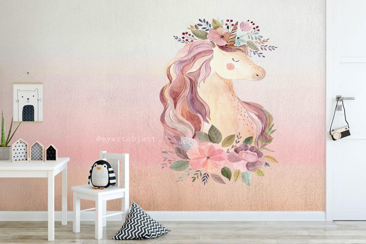 единорог роспись стены детской комнаты