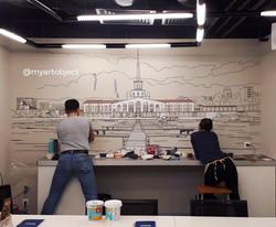 роспись стен офиса городской скетч морской вокзал сочи