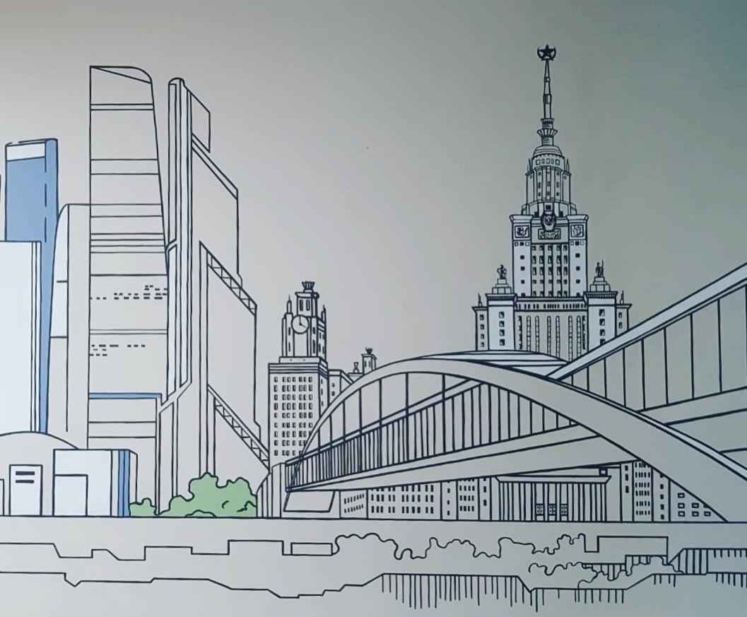 роспись для офиса панорама москвы (3)