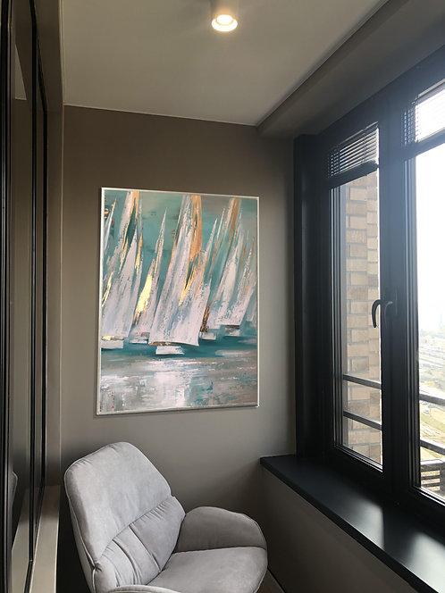современная абстрактная картина с золотом корабли в бирюзовой бухте