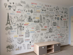 роспись стены детской необычная карта путешествий