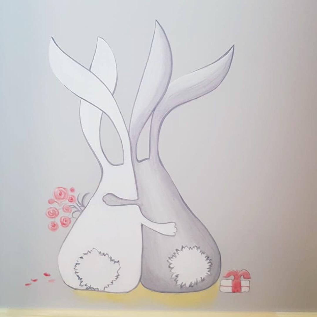 роспись детской москва зайчики
