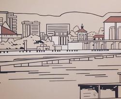 роспись стен офиса городской скетч морск