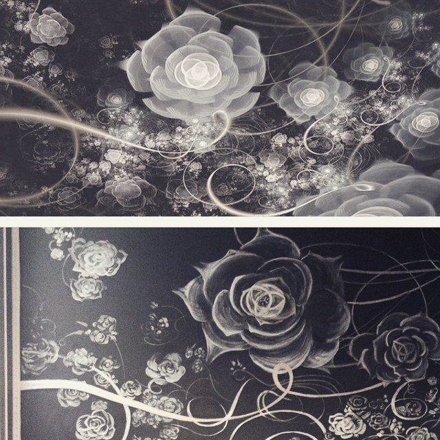 Instagram - Our computer sketch and mural done for comparison  #ornament #bw #mo