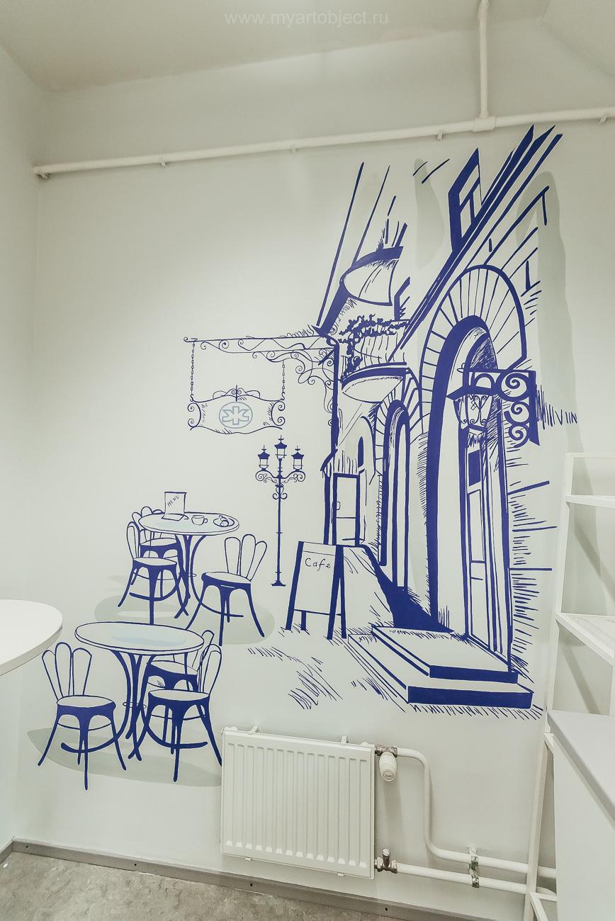 роспись для кухни, силуэт города и кафе