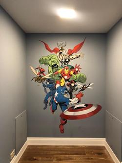 роспись стен детской в стиле комиксы супергерои