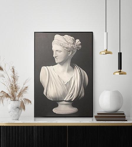 Афродита - портрет в стиле барельеф, монохромная черно-белая картина на холсте
