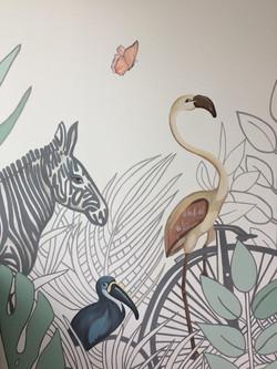 Роспись стены детской животные в тропиках иллюстрация