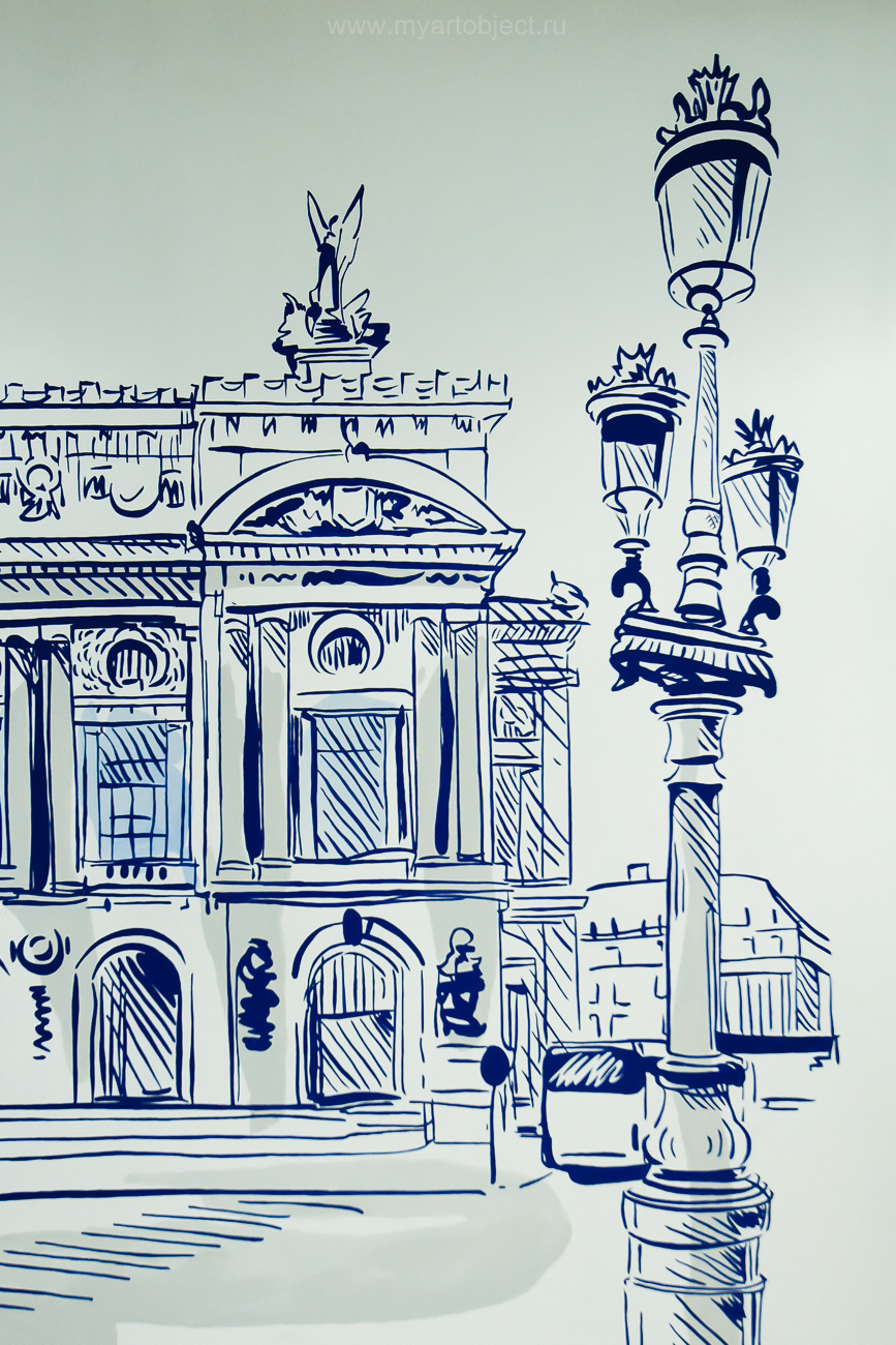 роспись стены, париж, paris street wallmural