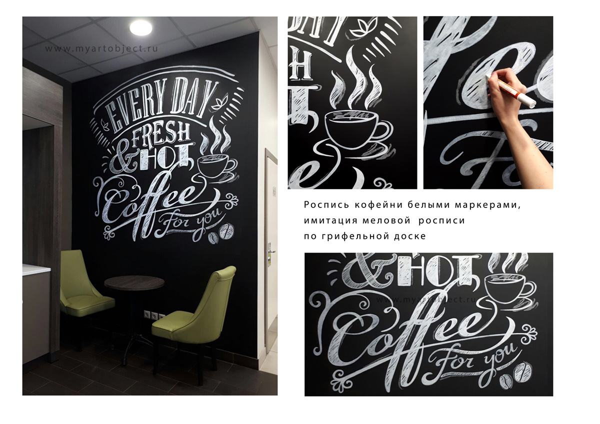 Меловая-роспись-кофейни---роспись-черной-стены-чашка-кофе-и-слова-леттеринг-на-стене
