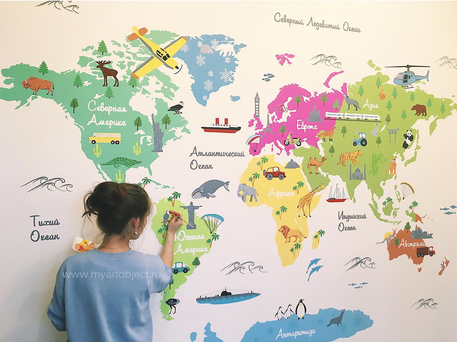 роспись-детской-в-москве---рисунок-на-стене-карта-мира
