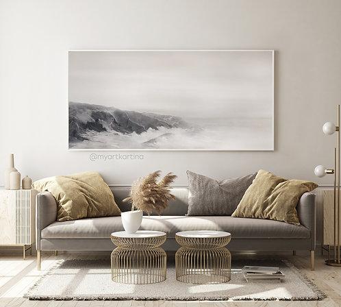 """Туман на море"" монохромная черно-белая картина на холсте"