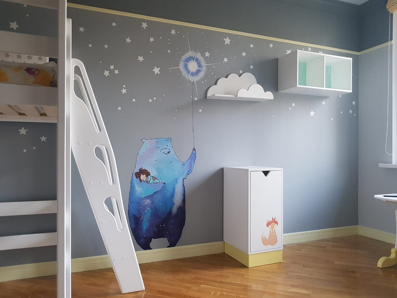 мишка в космосе роспись стены детской, з