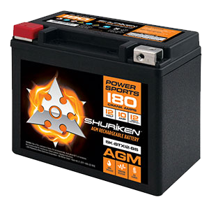 180 CRANK AMPS / 10AMP HOURS AGM Power Sports 12V Battery