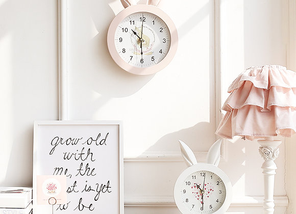 Reloj madera Orejas de conejo -rosa