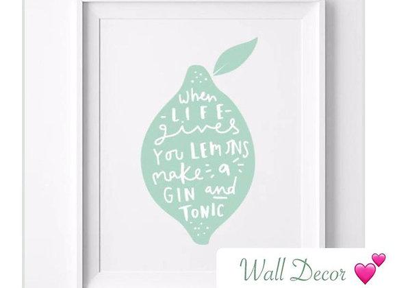 "Wall Decor ""Lemon & Gin Tonic"""