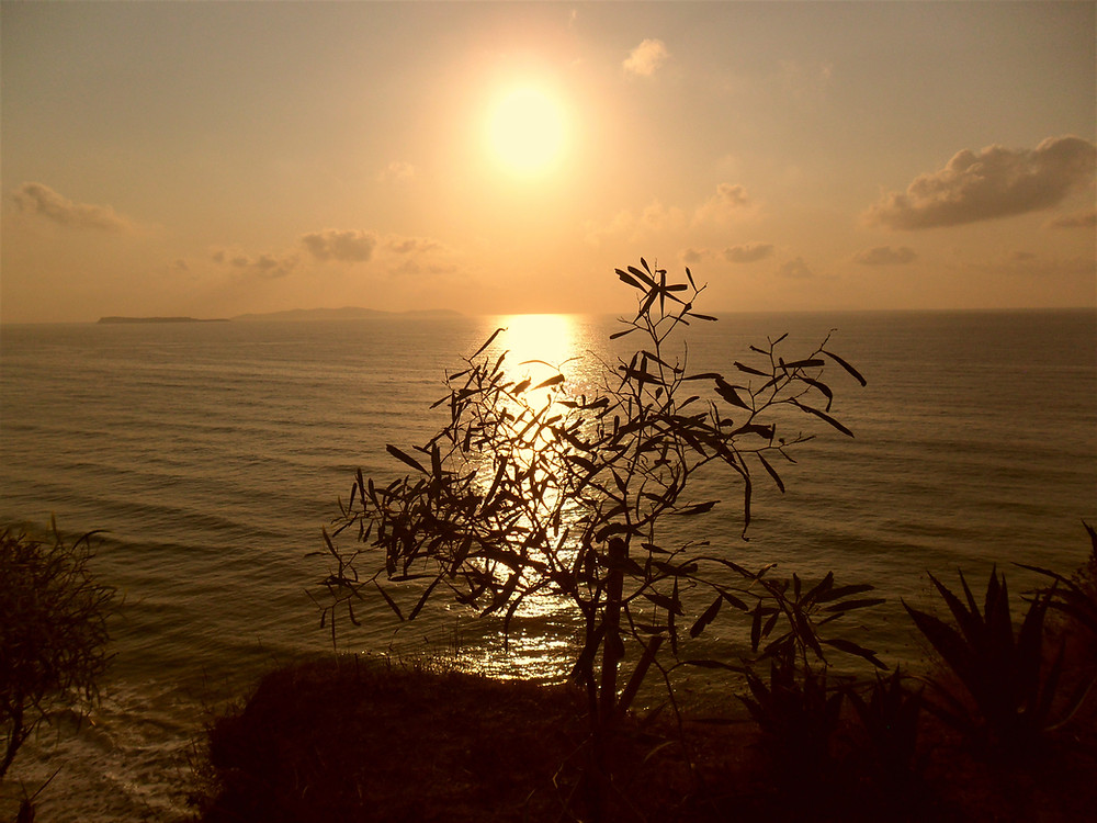 Corfu Logas Beach at Peroulades village, amazing sunset
