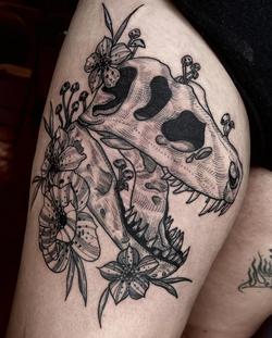 t rex dino skull flowers tattoo